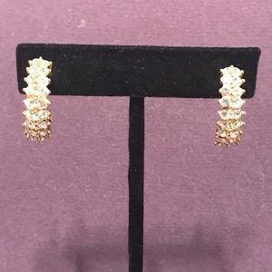 Blingy gold tone earrings.  2/$10 Sale